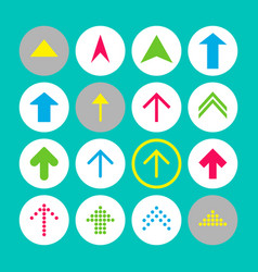 set of 16 up arrow icons arrow buttons on vector image