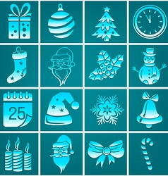 Set of Christmas icons isolated vector image