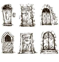 set of doodle doors sketch EPS 10 vector image