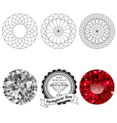 Set of portuguese rose cut jewel views vector image