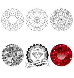 Set portuguese rose cut jewel views vector