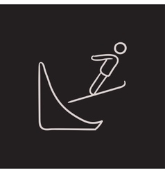 Ski jumping sketch icon vector image