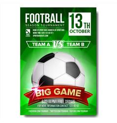 soccer poster football ball design for vector image