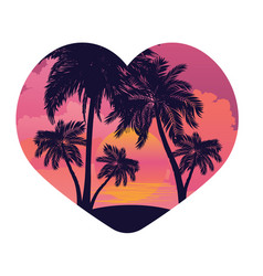 sunrise tropical island in the heart vector image