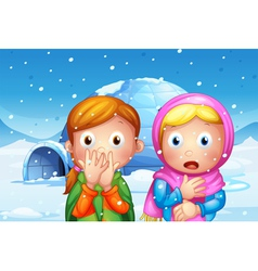 The two shocked girl with snowflakes vector