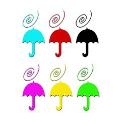 Umbrelas in color vector