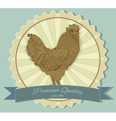Vintage badge with Rooster vector