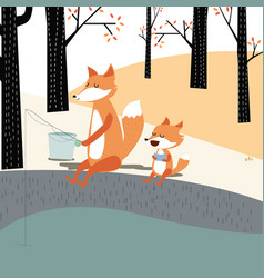 vintage cute spring summer baby fox and dad vector image