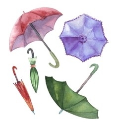 Watercolor set of umbrellas vector image