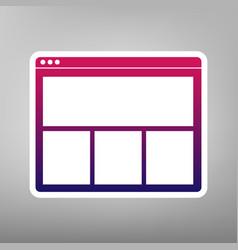 web window sign purple gradient icon on vector image