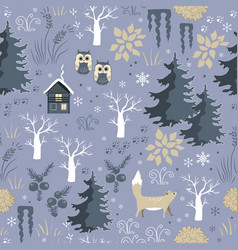 winter seamless pattern with doodle forest vector image