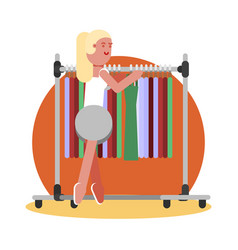 woman choosing clothing vector image