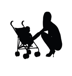 woman with baby silhouette one vector image