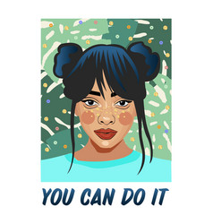 you can do it typography slogan with girl vector image