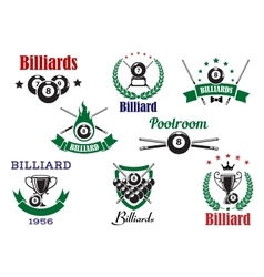 Billiards sports heraldic icons and elements vector image