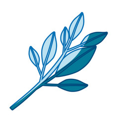 blue silhouette of tree branch with leaves vector image vector image