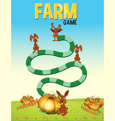 boardgame template with bunnies and pumpkin vector image vector image