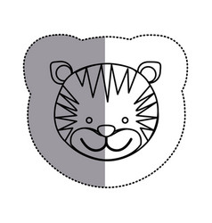 contour face tiger icon vector image vector image