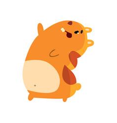 cute happy cartoon hamster character having fun vector image