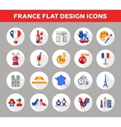France travel icons and elements with famous vector image vector image