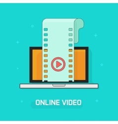 Laptop with video film strip play button vector image vector image