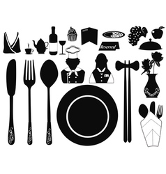 set of restaurant object vector image vector image