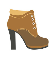 warm female half-boot on heel made of suede vector image