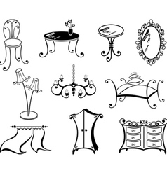 a set of furniture vector image