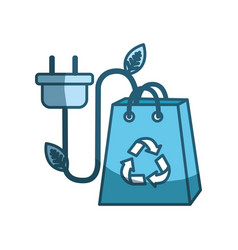 Blue bag with recycle sign and power cable vector