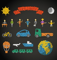 Different icons collection with abstract gradient vector image vector image
