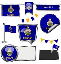 Glossy icons with Kansan flag vector image