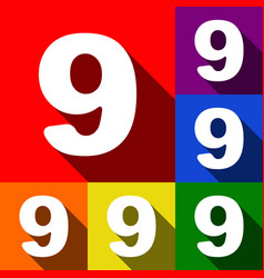 number 9 sign design template element set vector image