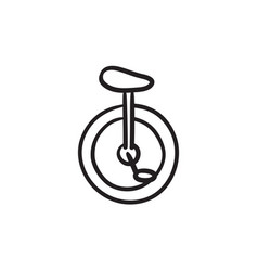 One wheel bicycle sketch icon vector
