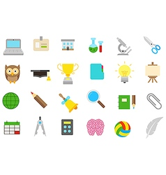 School elements isolated icons set vector image vector image