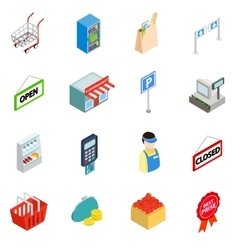 Supermarket icons set isometric 3d style vector image
