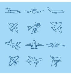 Airplane thin line icons vector
