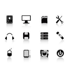 black computer equipment icon vector image