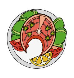 fish and salad seafood vector image