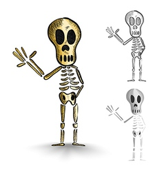 Halloween monsters isolated spooky skeletons set vector image vector image