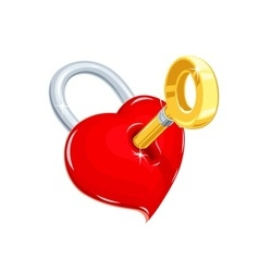 Heart and key Symbol love for vector image vector image