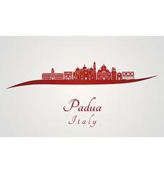 Padua skyline in red vector image vector image