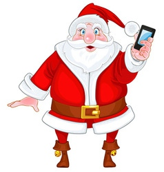 Santa Claus with a smart phone vector image