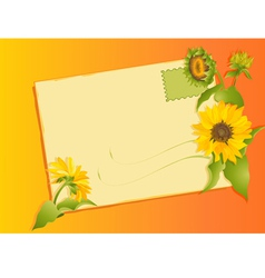 summer letter with sunflowers vector image vector image