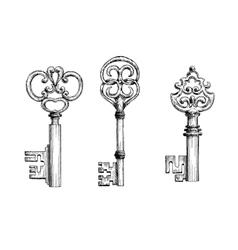 Vintage medieval keys sketches set vector image vector image