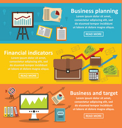 Business plan banner horizontal set flat style vector