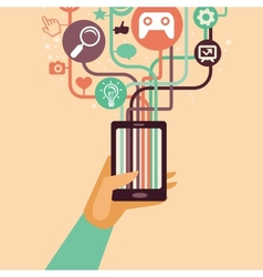 hand and mobile phone with internet icons vector image