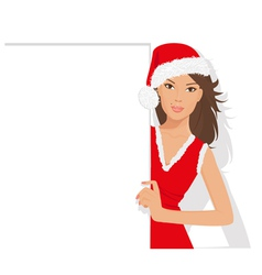 santa girl with sign vector image