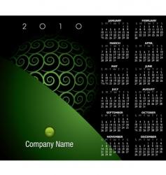 2010 green swirl calendar vector