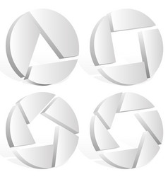 3d shutter symbols emblems vector image