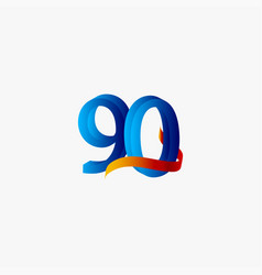 90 years anniversary celebration number blue vector